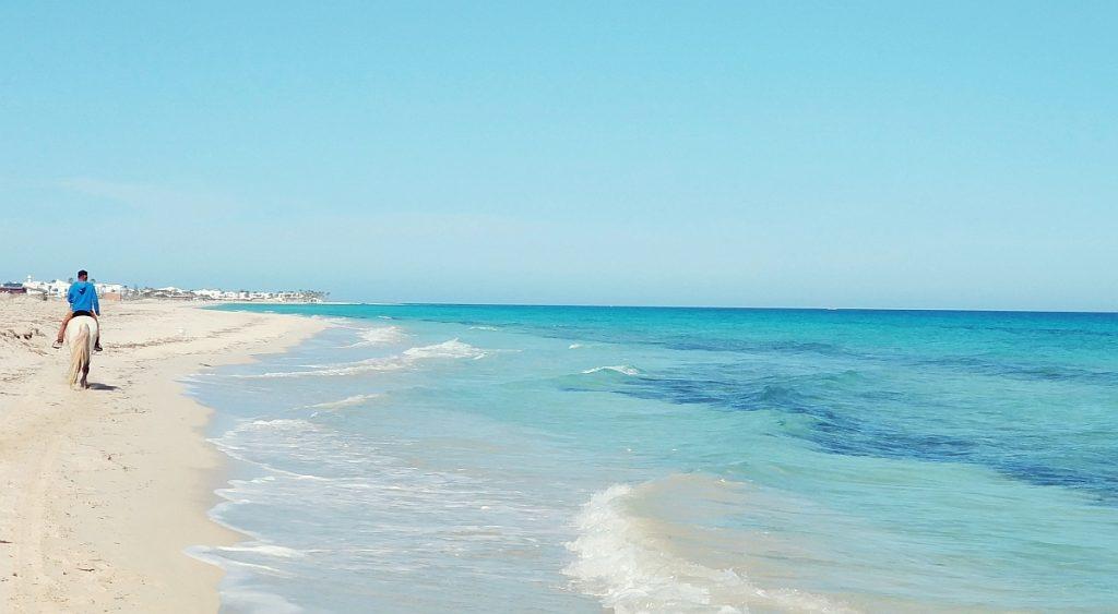 Tunezja zimą. Plaża na Dżerbie. Zima w Tunezji