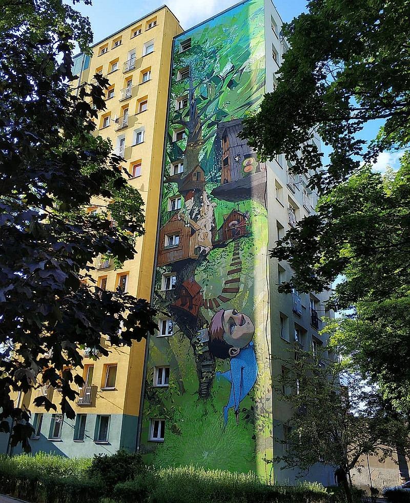 Street art w Bydgoszczy. Mural Piotruś Pan