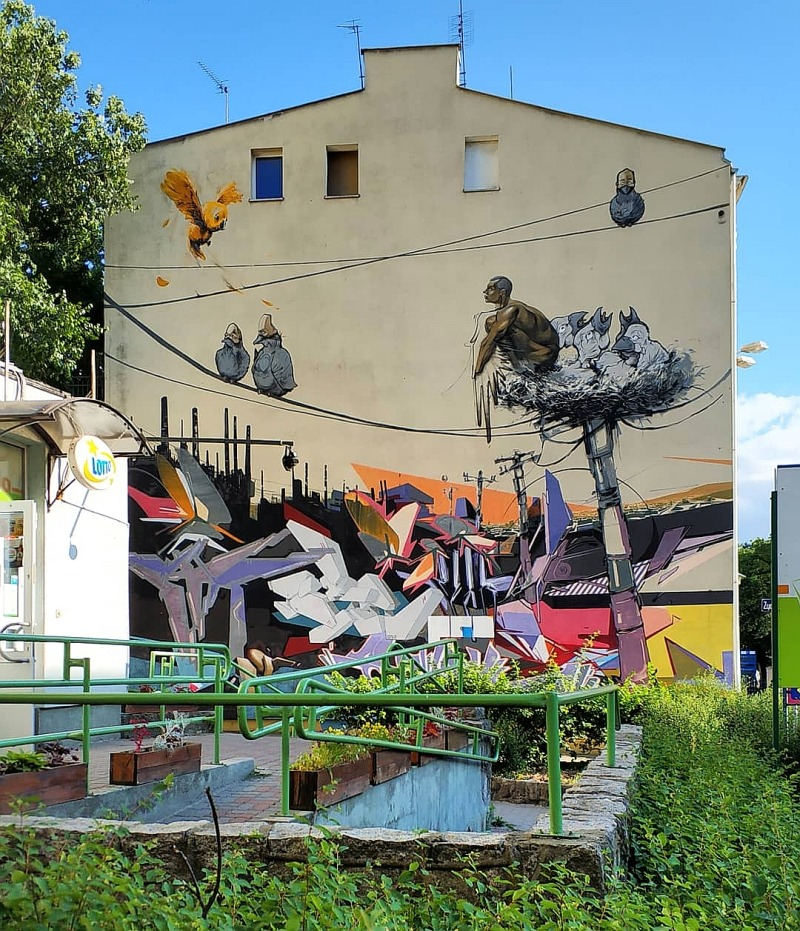 street art w Bydgoszczy. Mural Ptasiek