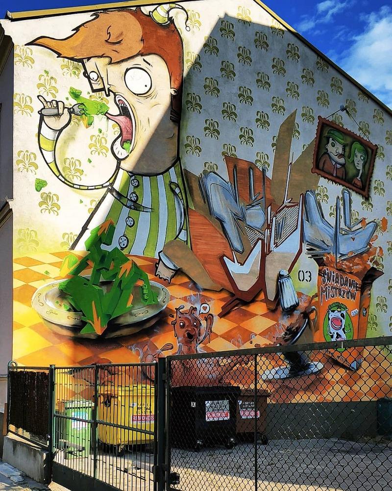 Street art w Bydgoszczy. Mural śniadanie mistrzów