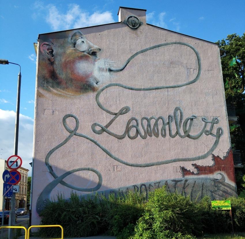 street art w Bydgoszczy. Mural zamilcz
