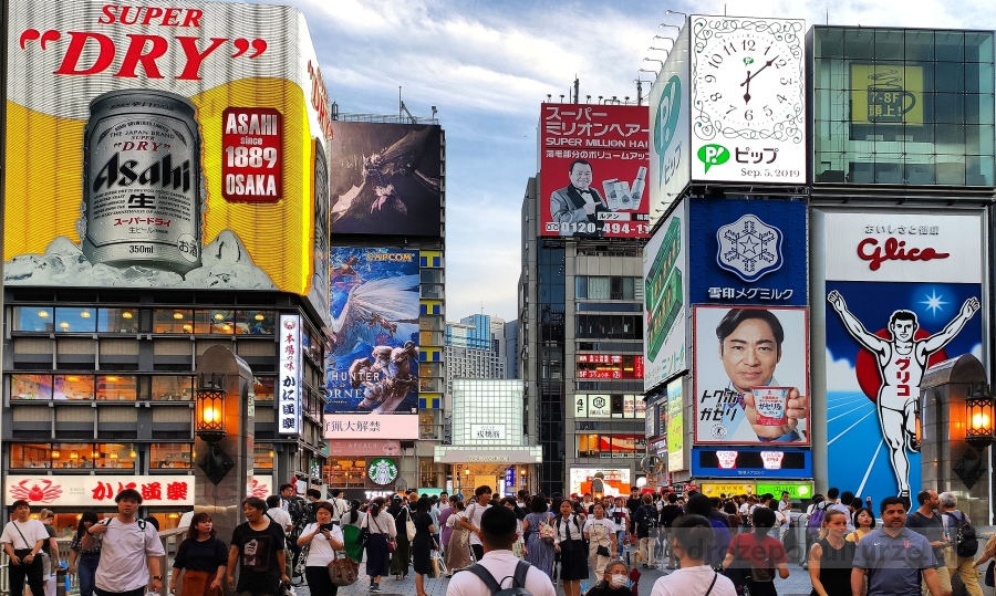 Dotonobori Osaka. Co robić w Osace. glico Man