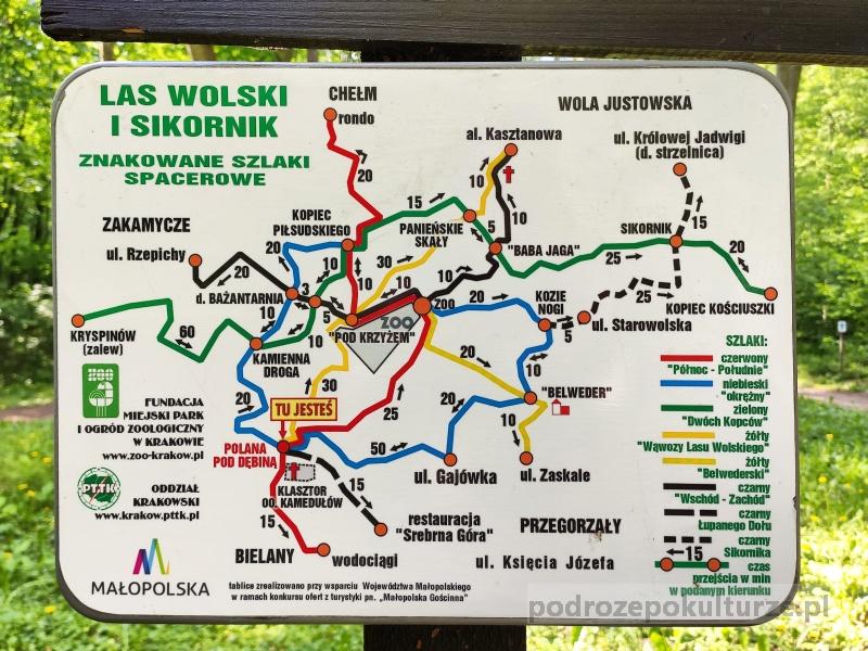 Las Wolski mapa szlaków turystycznych