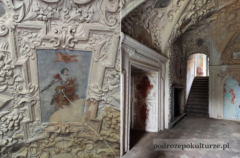 Nieznane atrakcje ziemia kłodzka. Zamek w Gorzanowie. Pałac w Gorzanowie wnętrze. Sztukaterie barokowe