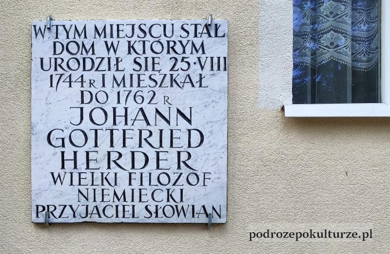 Morąg tablica pamiątkowa na domu J.G. Herdera
