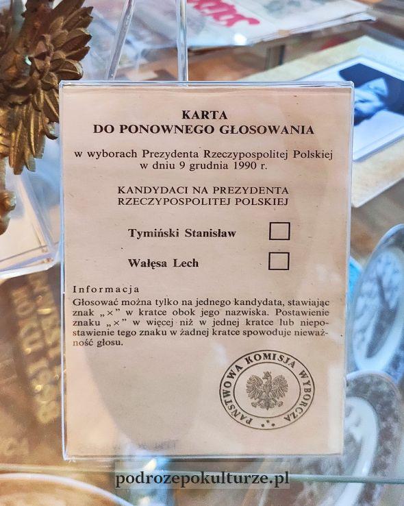 Regionalna Izba Pamięci - karta do głosowania w wyborach prezydenckich w 1991 roku