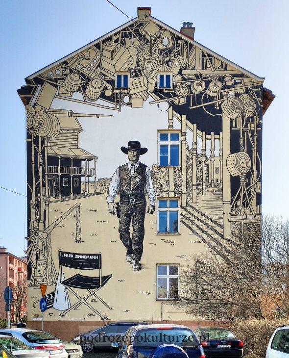 Street art w Rzeszowie mural z Garym Cooperem na cześć Freda Zinnemanna