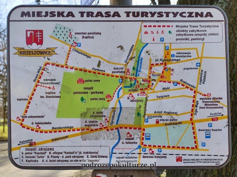 Miejska Trasa Turystyczna Krzeszowice mapa przebiegu