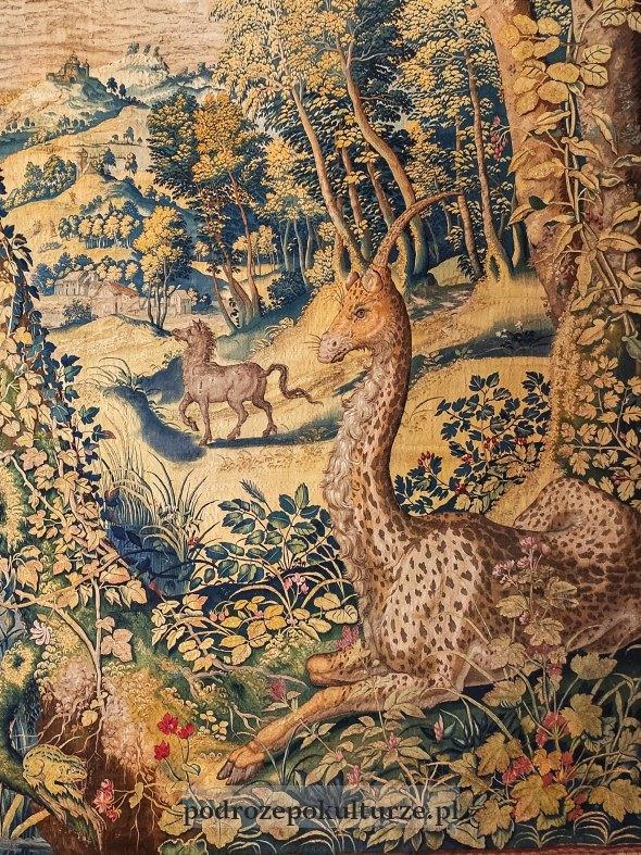 Arras Jednorożec, żyrafa i ryś. Fragment z żyrafojednorożcem